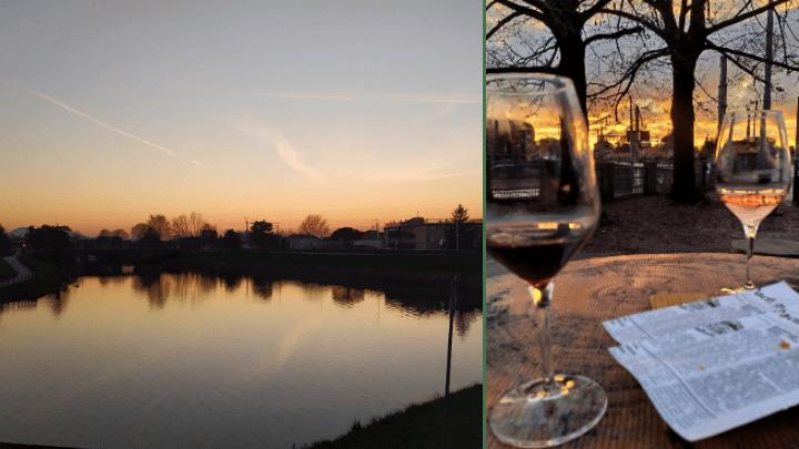 À esquerda, vista do por do sol no rio Bacchiglione; à direita, duas taças de vinho e torradinhas num aperitivo no bar Pier88, com o por do sol ao fundo