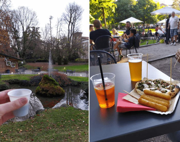 Imagem formada por duas fotos: uma de um café num dia nublado no Giardino, outra num dia de verão, com drinks e uma pizzinha