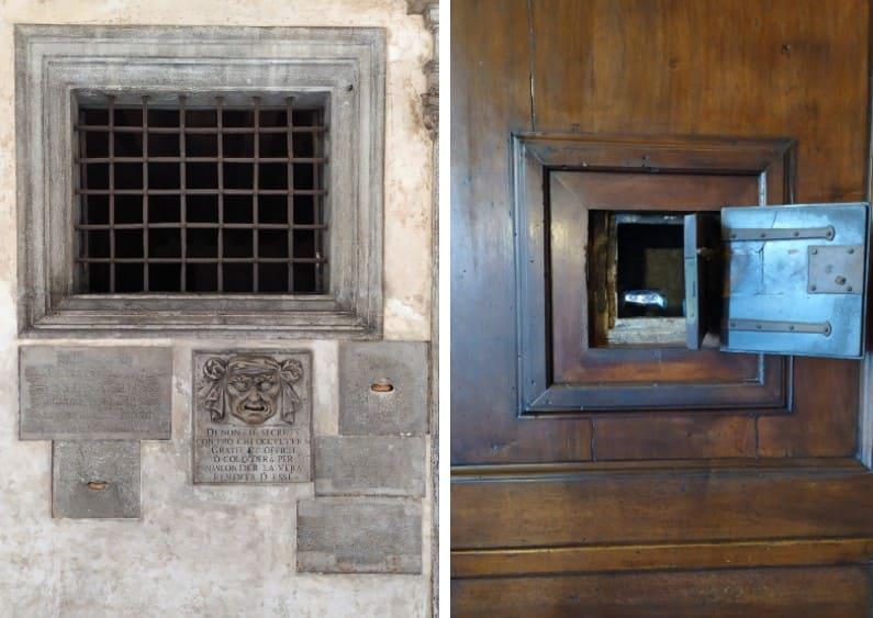 À esquerda, parede com uma boca de leão vista de fora; à direita, a boca de leão vista por dentro no Palazzo Ducale, em Veneza