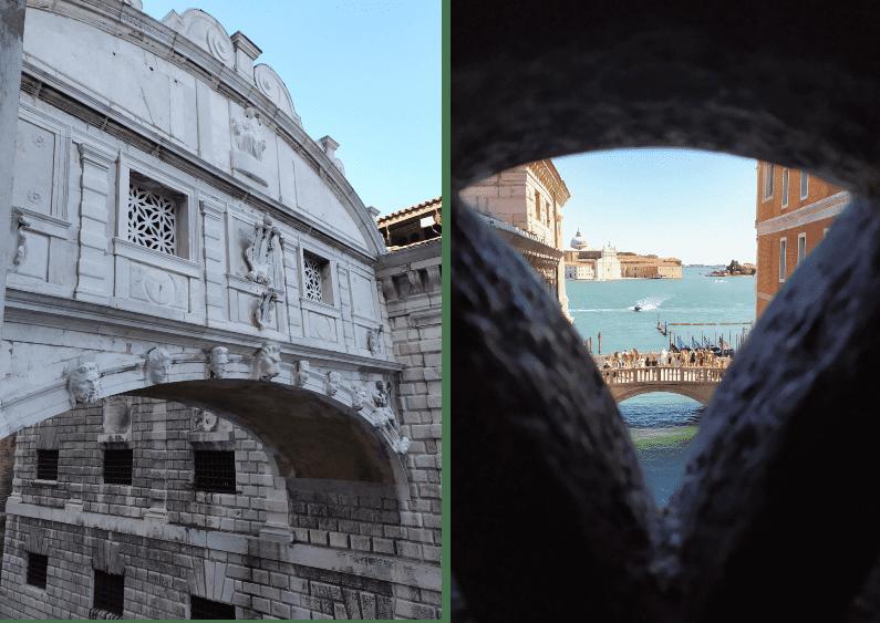 De um lado, a vista de fora da Ponte dos Suspiros; do outro, a vista do Canal Grande por um buraquinho na janela da ponte