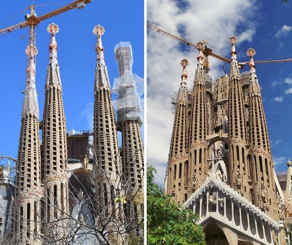 Sagrada Família em Barcelona em 2016 e 2020