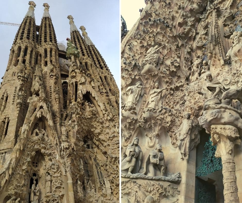 Sagrada Família em Barcelona: fachada do nascimento de Cristo