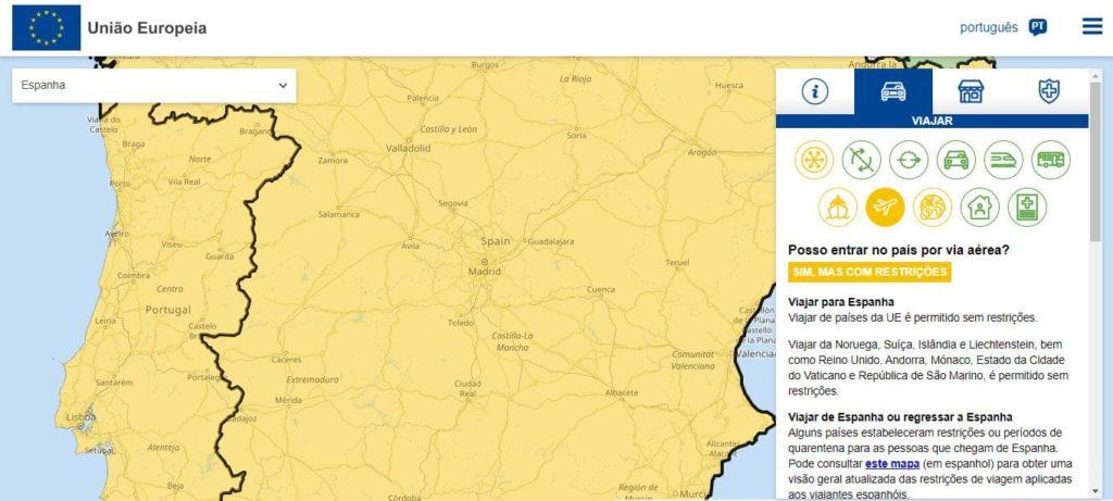 Printscreen da tela do site Reopen EU, que mostra como viajar pela Europa na pandemia