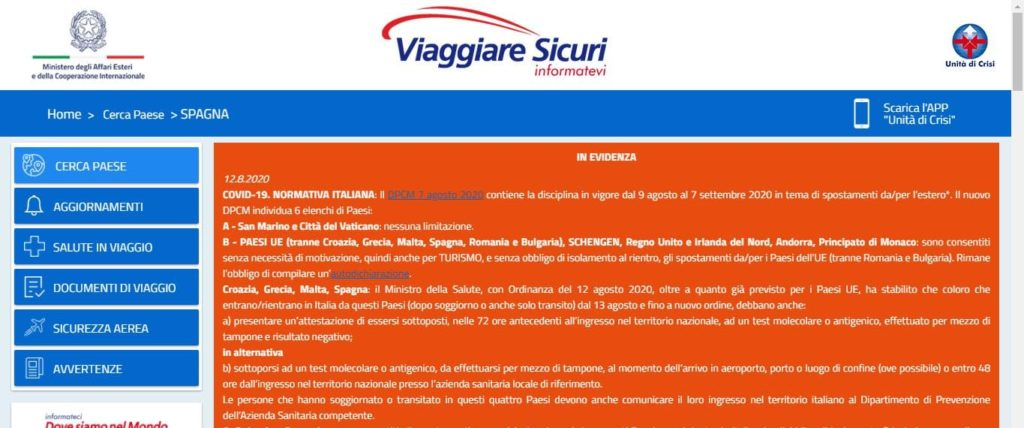 Screenshot do site Viaggiare Sicuri, que mostra se é seguro viajar da Itália para outros países da Europa