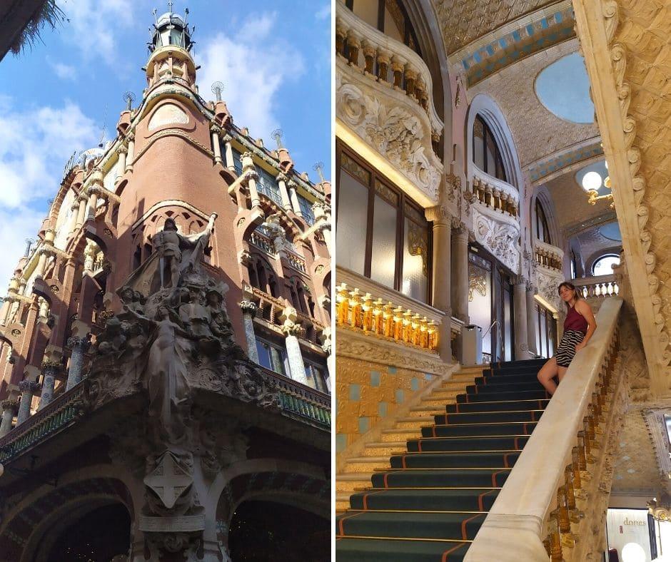 À esquerda, fachada do Palau de la Musica Catalana; à direita, escadaria