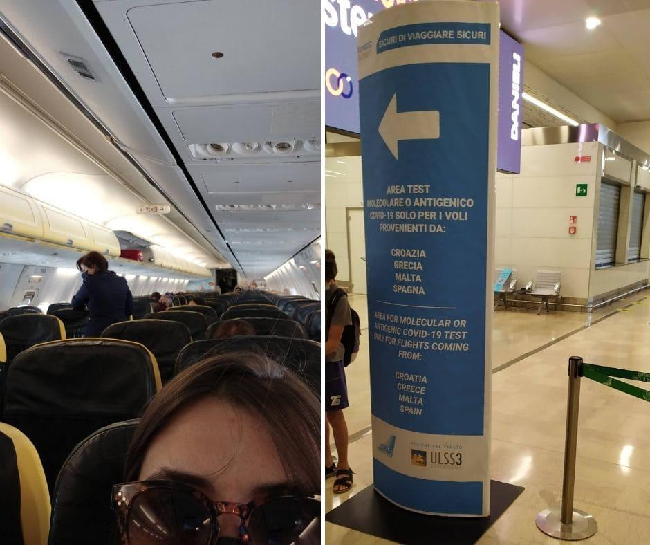 Viajar na pandemia é assim: avião vazio e teste de Covid na chegada