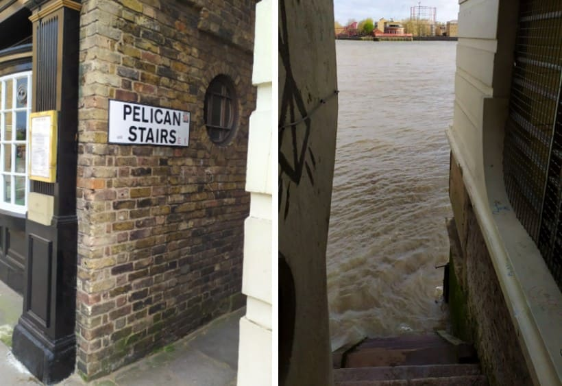"Pelican Stairs, acesso à ""praia"" em Londres"